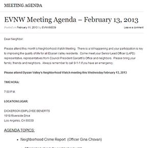 EVNW Meeting Agenda – February 13,2013