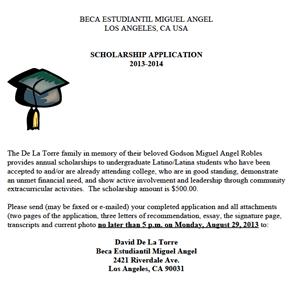 Beca Estudiantil Miguel Angel Scholarship2013