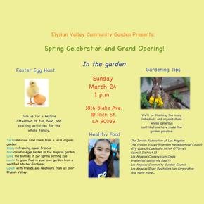 Elysian Valley Community Garden – Spring Celebration and GrandOpening!