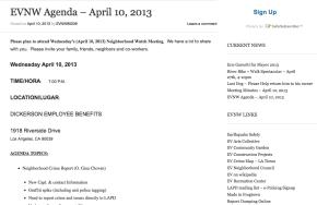 EVNW Agenda – April 10,2013