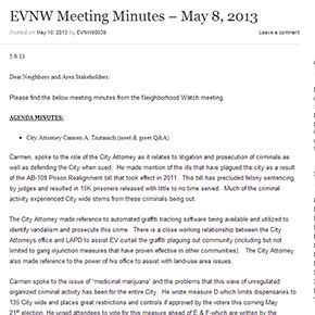EVNW Meeting Minutes – May 8, 2013