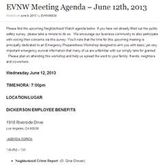 EVNW Meeting Agenda – June 12th,2013