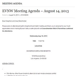 EVNW Meeting Agenda – August 14,2013