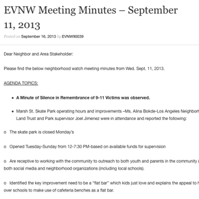 EVNW Meeting Minutes – September 11, 2013