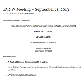 EVNW Meeting Agenda – September 11, 2013