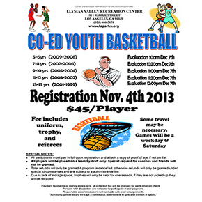 CO-ED Youth Basketball Registration starts November 4th, 2013