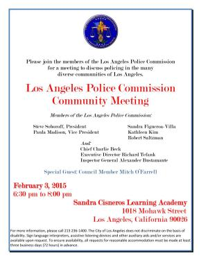 LA  Police Commission Community Meeting – Feb. 3