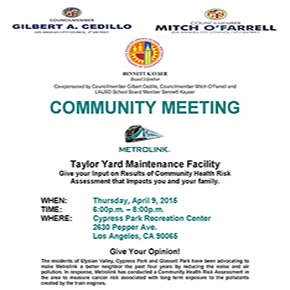 METROLINK MEETING Thursday, April 9th at 6:00 pm