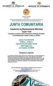 Metrolink 4-9-15 Community Meeting Flyer - Spanish
