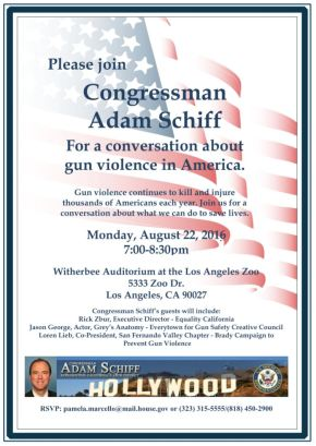 Congressman Adam Schiff discusses gun Violence. Aug. 22,2016